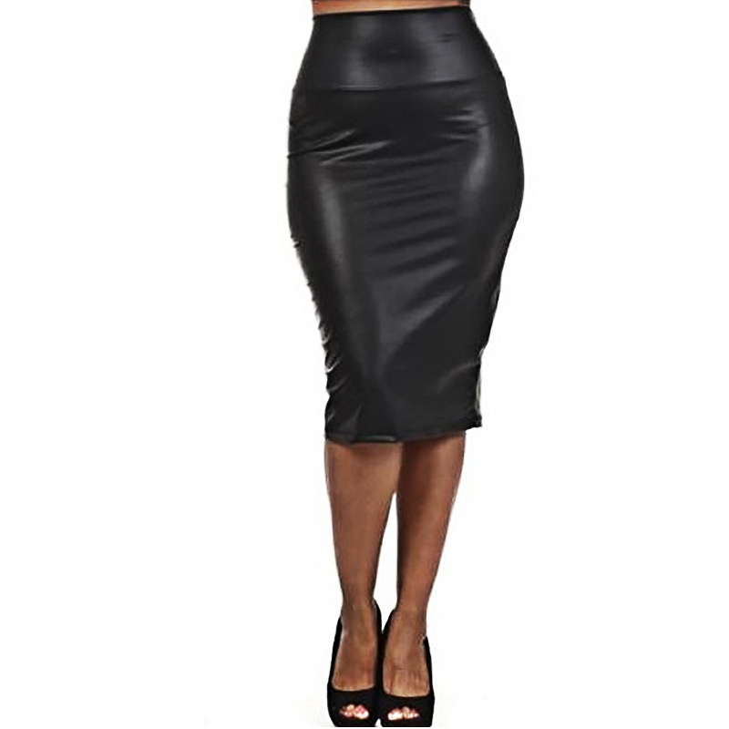 2016 black pu leather pencil skirt high waist