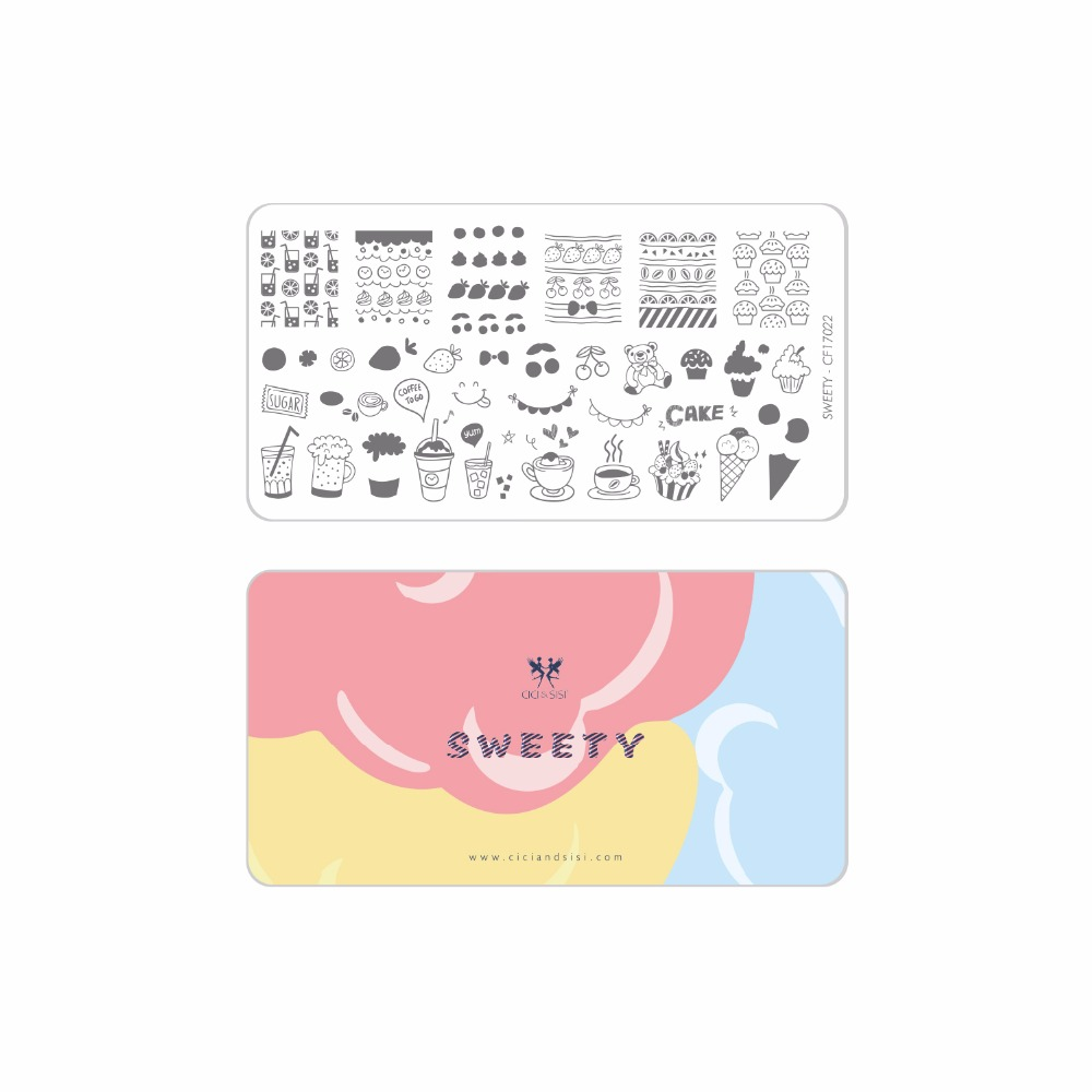 CICI&SISI Acrylic Nail Art Stamping Plate Decorations Konad Stamping Manicure Template Stamp Sweety Series wholesales new a t series xl medium size stamp nail art stamping image plate print nail art large big template diy
