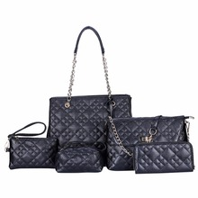 Famous Brand Women Bags 2017 Luxury Top Handle Composite Bags Female 5 Piece Set Messenger Shoulder