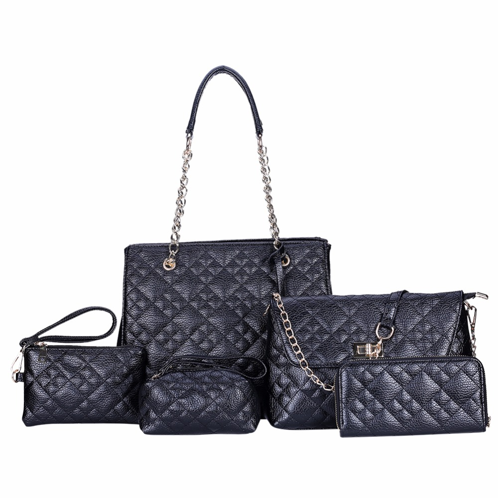 Famous Brand Women Bags 2017 Luxury Top Handle Composite Bags Female 5 Piece font b Set