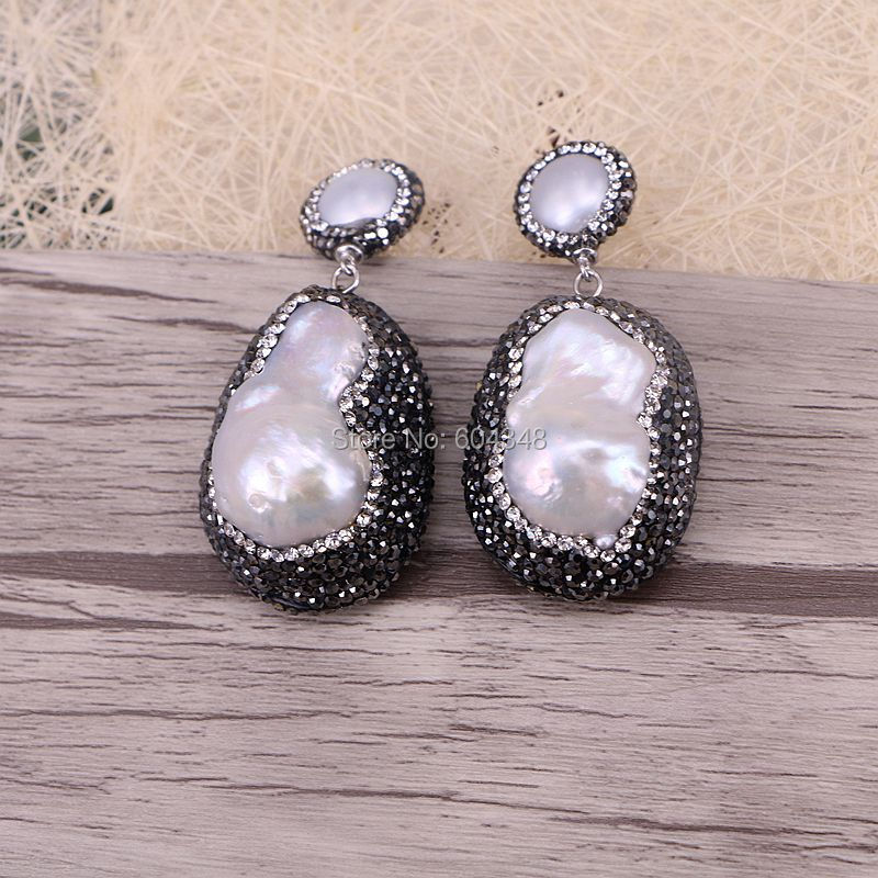 product online stud drop metallic irregular color pearl sterling large silver purple genuine store in earrings baroque