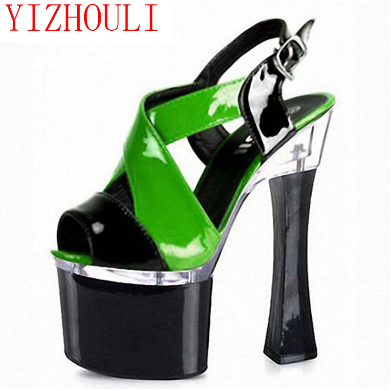 18cm summer sexy pole dancing sandals for women 2016 fashion clubbing high heels 7 inch platform color block shoes 2015 wholesale back to heaven demon college dxd leah redrawing wire pole dancing editions of hand box