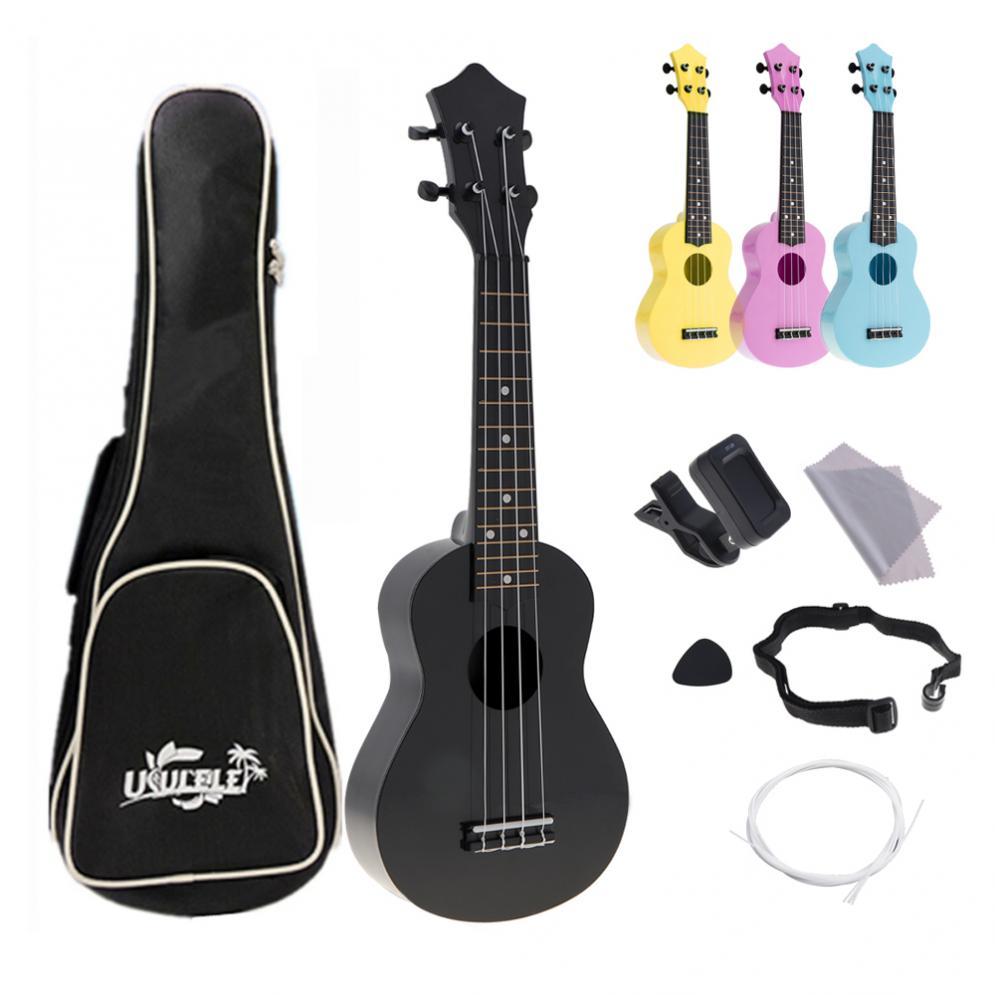 Atacado 4 Cordas 21 Polegada Guitarra Guitarra Instrumento Acústico Colorido Havaí Ukulele Kits Completos para Crianças e Música Iniciante