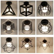 Современные скандинавские черные кованые E27 светодиодные потолочные лампы для кухни, гостиной, спальни, кабинета, балкона, крыльца, ресторана, кафе-отеля