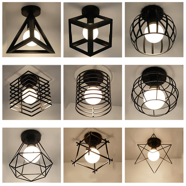 Zwarte SmeedijzerenLed Plafond Lampen  1