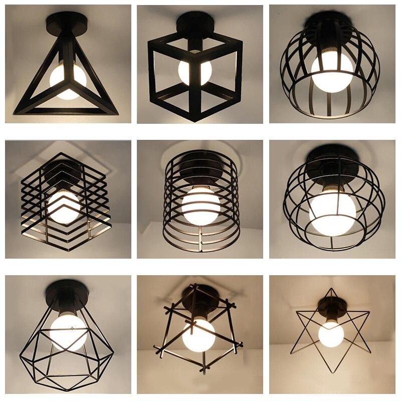 โมเดิร์น Nordic Black wrought Iron E27 โคมไฟเพดาน LED สำหรับห้องครัวห้องนั่งเล่นห้องนอนศึกษาระเบียง Porch ร้านอาหา...