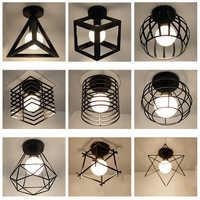 Lámparas de techo led E27 de hierro forjado Negro Nórdico moderno para cocina, sala de estar, dormitorio, estudio, balcón, porche, restaurante, cafetería y hotel