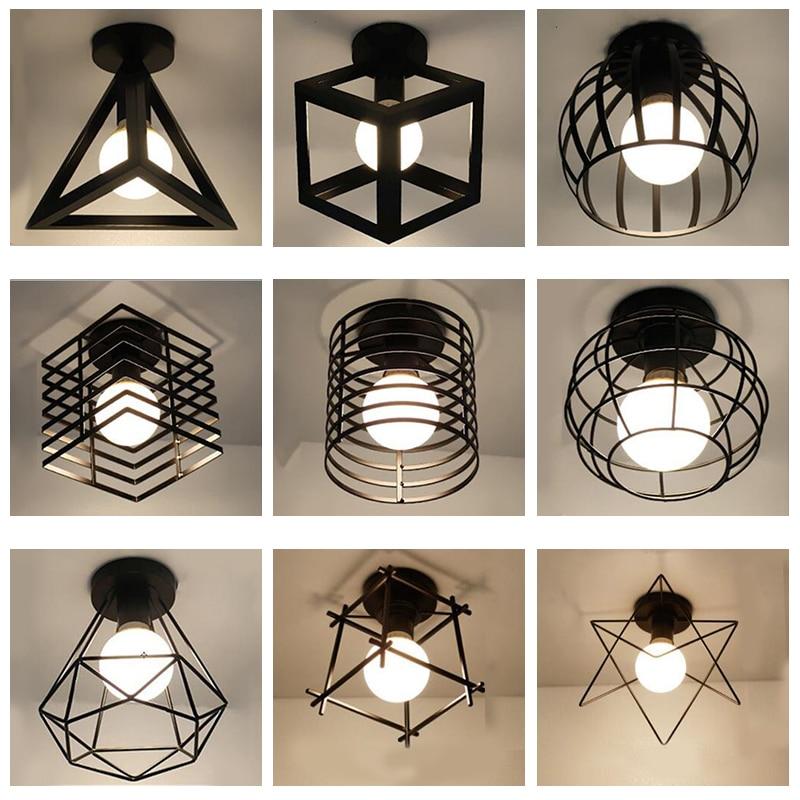Moderno lámparas de techo LED de hierro forjado Negro Nórdico E27 para cocina, sala de estar, dormitorio, estudio, balcón, porche, restaurante, cafetería, hotel
