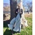 2017 europa estilo elegante bordado larga dress bohemia con cuello en v sin respaldo sweet holiday dress oscilación grande floja ruffles hot dress