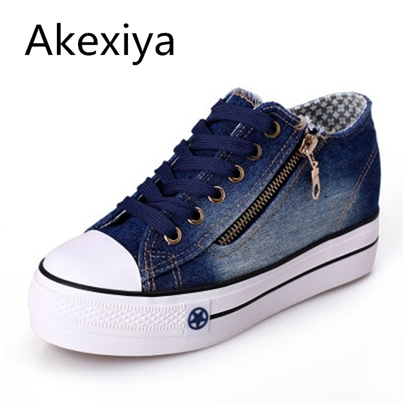 Akexiya Free Shipping 2017 New Canvas Shoes Fashion Leisure Women Shoes Female Casual Shoes Jeans Blue 35-40 e toy word canvas shoes women han edition 2017 spring cowboy increased thick soles casual shoes female side zip jeans blue 35 40