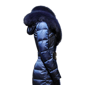 Image 4 - AYUNSUE модная зимняя женская куртка с воротником из лисьего меха, тонкое теплое пуховое пальто, женская длинная парка, женская элегантная верхняя одежда с капюшоном 754