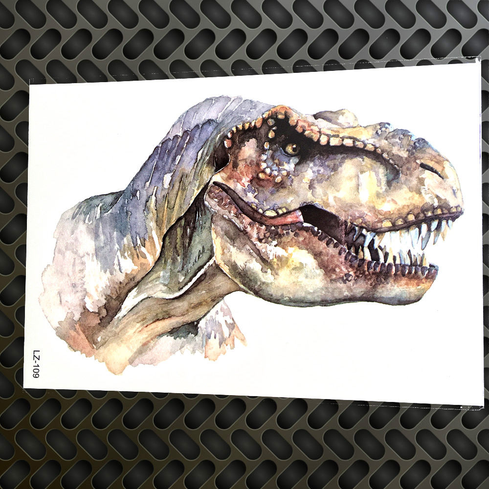 Watercolor Jurassic Dinosaur Temporary Tattoo Stickers Women Body Arm Art Painting Tyrannosaurus Rex Waterproof Fake Tattoo Men