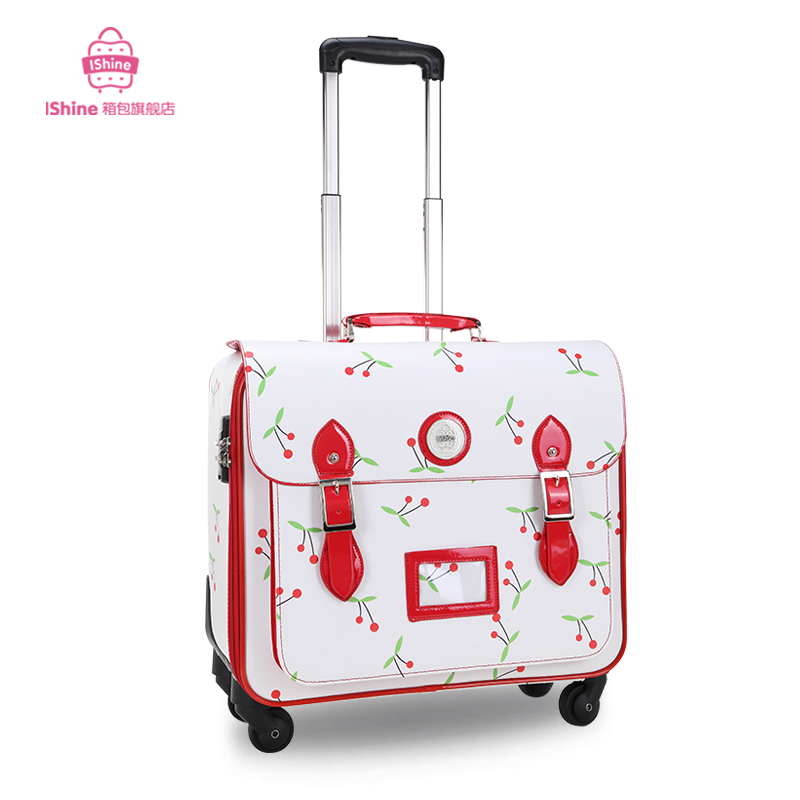 Trolley luggage PU pull box vintage travel bag luggage female the gossip small drag boxes,18 inch girl school travel luggage box