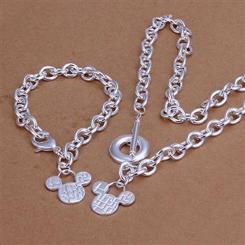 KN-S335 Grosir Gratis Pengiriman Charm Perak disepuh set perhiasan indah  perak fashion perhiasan gelang kalung apvajhca 89f327f802