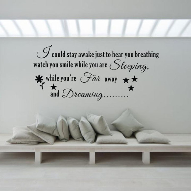 Far Away And Dreaming Fine Quality Vinyl Black Wall Sticker Love Quotes  Living Room Bedroom Quotes