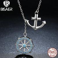 VOROCO Popular Design 925 Sterling Silver Cross Ferris Wheel Blue Anchor Pendants Necklaces Wedding Jewelry N049