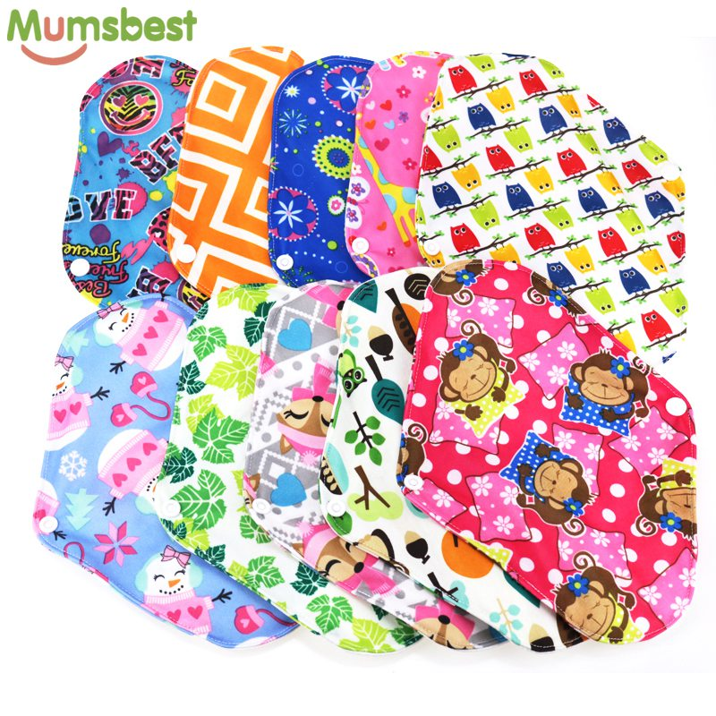 [Mumsbest] 10PCS Bamboo Cotton Washable Cloth Maternity Pads Menstrual Reusable Sanitary Pads Napkin Waterproof Panty Liners
