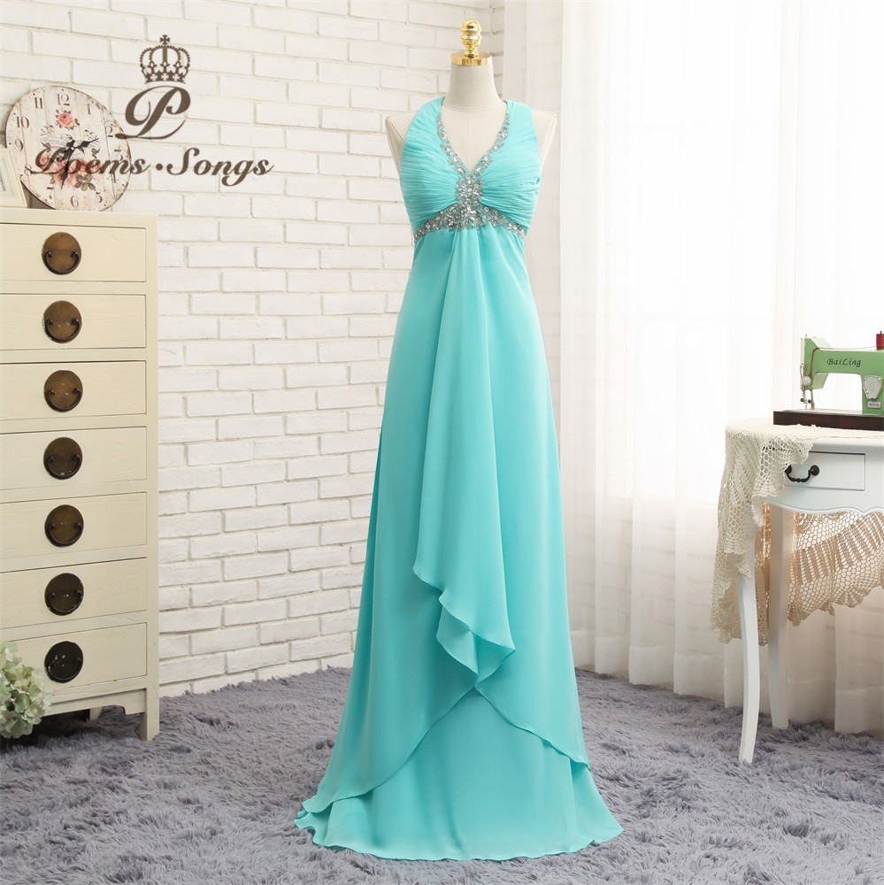 Poems Songs Sexy V-Neck   Evening     Dress   Back cross Personality Prom   Dress   vestido de festa longo 2019 new abiye