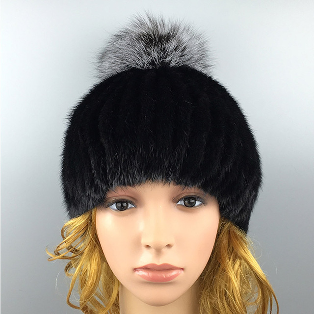 2016 Winter Beanies Fur Hat for Women Mink Fur Solid Free Size Casual Hot Sale Fashion Women's Hat