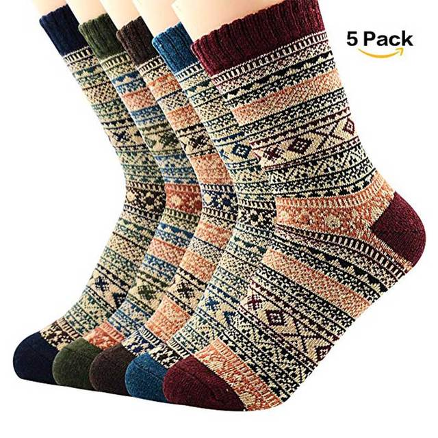 High Quality 5 Pairs Men Women Warm Winter Socks Soft Cashmere Warm Socks Rabbit Wool Socks Winter Thermal Socks Wool Breathable 1