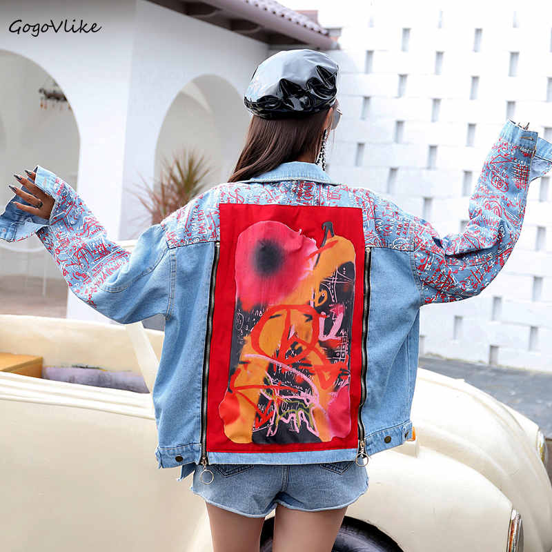 Jeans Jacket Graffiti Print Women Blue Jean Coat 2018 Autumn Denim Jacket Geometric Appliques Coats Punk
