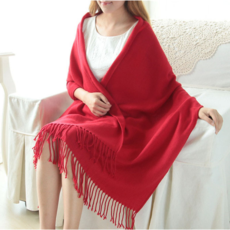 Women Solid Color Soft   Scarf   Cashmere-like   Scarves   Winter Autumn Lady Thick Shawls   Wrap   Warm Tippet   Scarf   With Tassel For Female