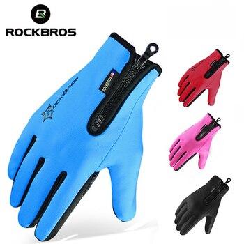 RockBros Erkekler Kadınlar Kış Rüzgar Geçirmez Polar Sıcak Bisiklet Tam Parmak Eldiven Açık Spor Kayak Dokunmatik Ekran Bisiklet Bisiklet Eldiven
