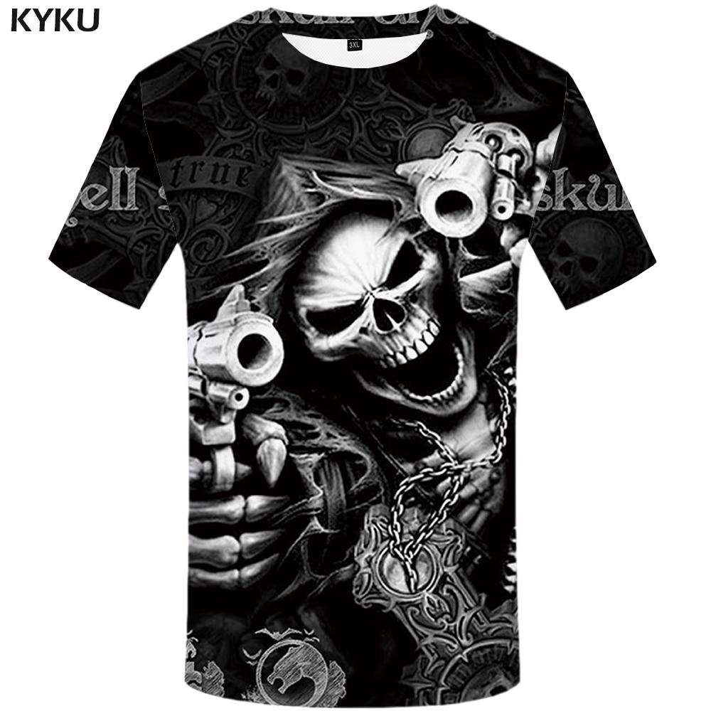 KYKU бренд череп футболка Скелет футболка пистолет футболка готический рубашки Панк тройник Винтаж рок футболки 3d футболка аниме мужской стили