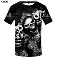 KYKU Brand Skull T Shirt Skeleton T Shirt Gun Tshirt Gothic Shirts Punk Tee Vintage Rock