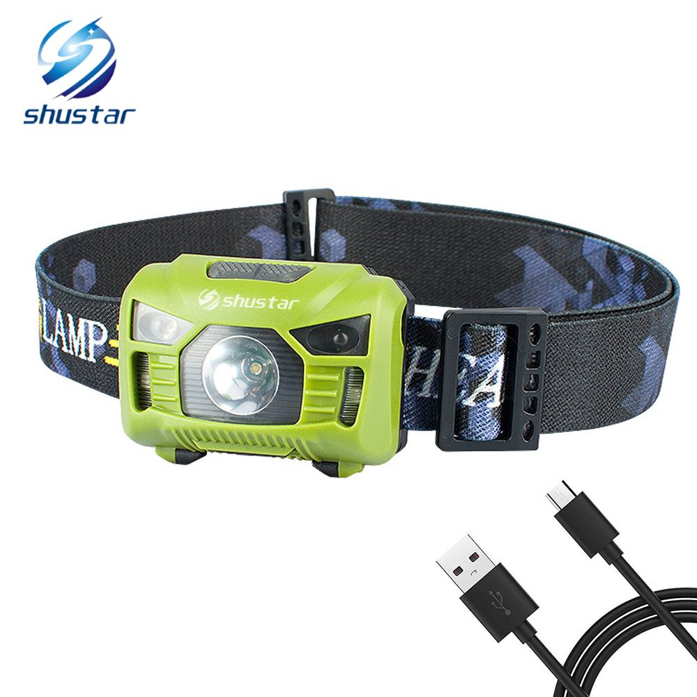 Body Motion Sensor Headlamp Induction USB Rechargeable Headlight 2 Switch Modes Head Flashlight Torch Lamp For Camping+USB Cable