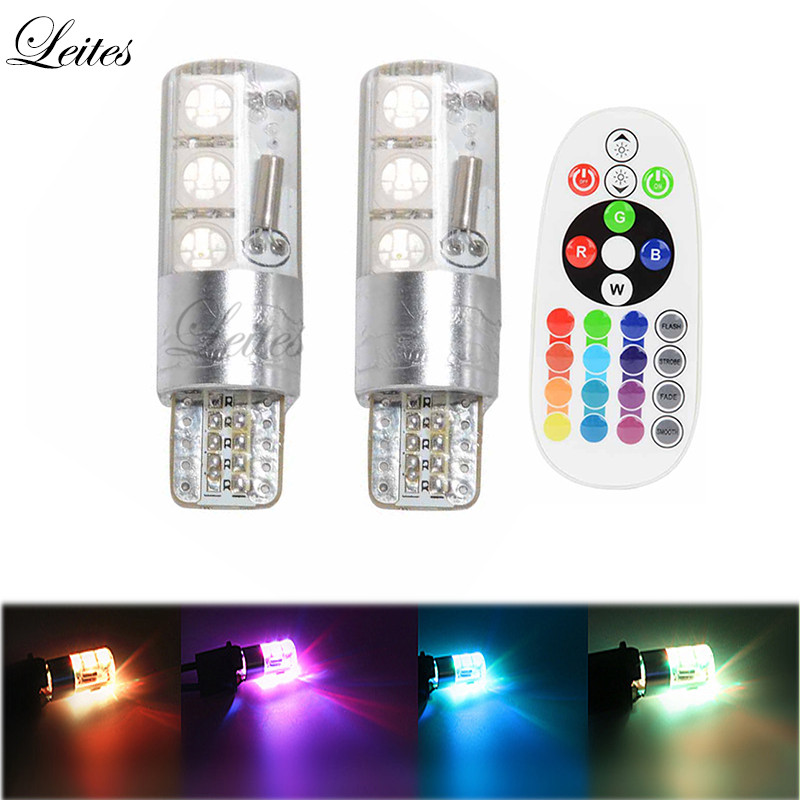 Leites 2pcs Super Led 5050 6SMD RGBW T10 W5W 168 194 LED Car Lights Reading Wedge Light Lamp Flash Strobe T10 Remote Control