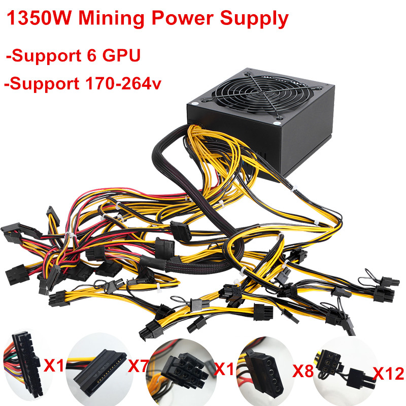 купить T.F.SKYWINDINTL 1350W ATX PC Power Supply 1350W Miner Mining Power Supply Mining Rig Machine for Ethereum Mining 24Pin Max 1600W недорого
