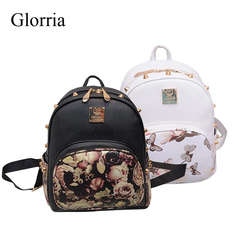 2017 Glorria Women Backpack Small Flower Printing Schoolbag For Teenage Girl Black Rivet Female Backpack White Sac a Dos Femme(China (Mainland))