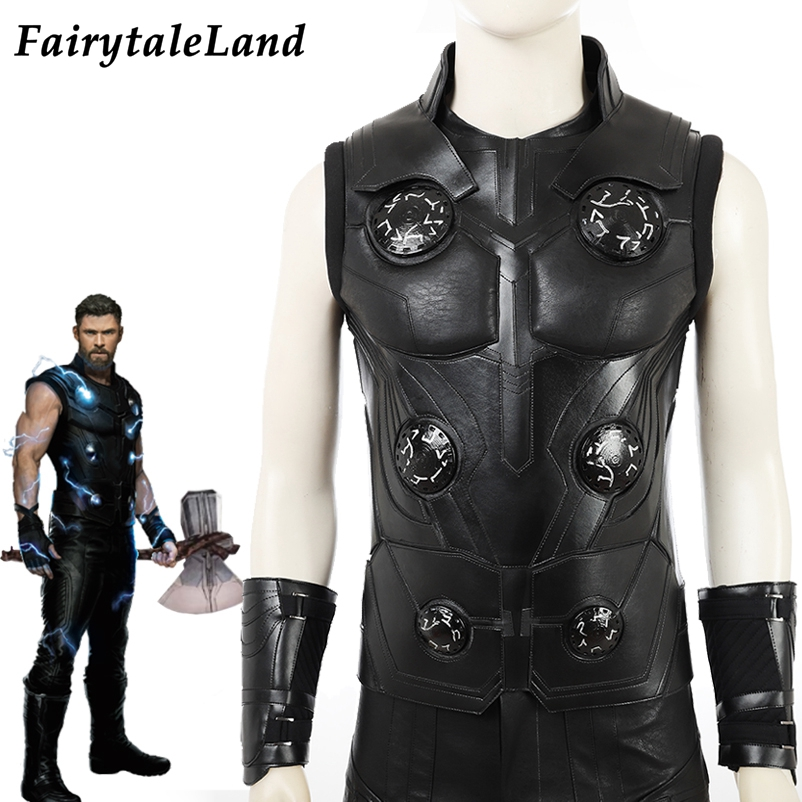 Avengers Infinity War Cosplay Costume Halloween Superhero Thor Odinson Costume Outfit Black Armor Thor Jacket Cosplay Boots