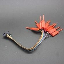 10PCS test hook clip. Logic analyzer test folder For USB Saleae 24M 8CH RED quick wire connection clip for logic analyzer test red 10 pcs