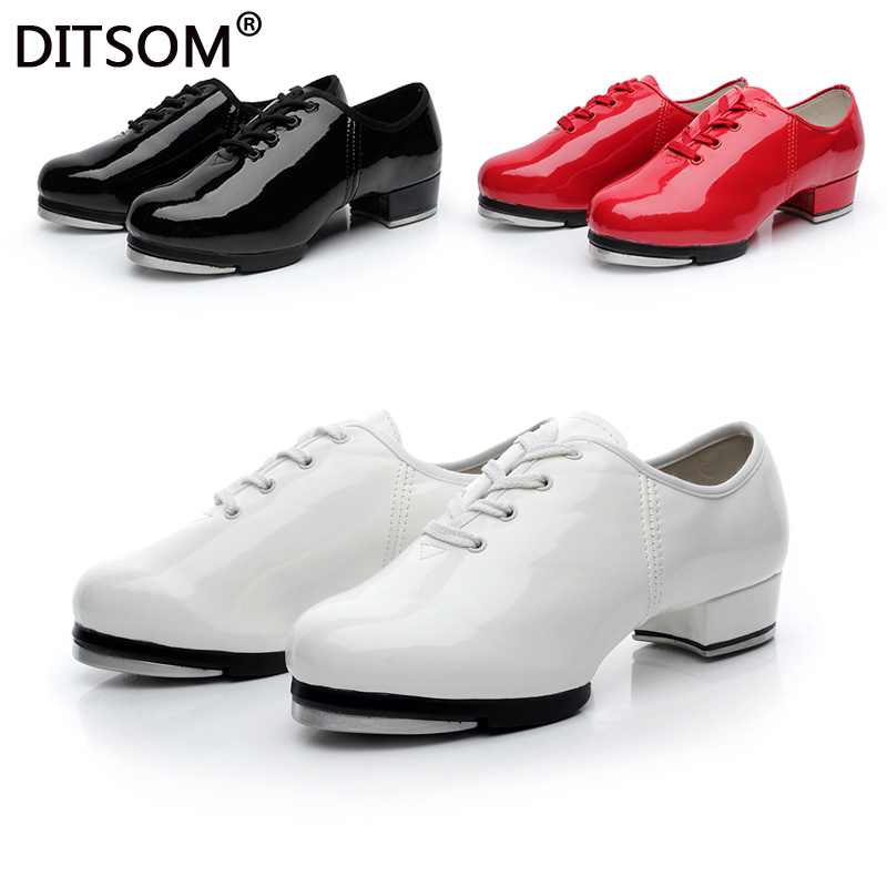 Brand New Classic PU Leather Clogging Tap Shoes For Men And Women Lace Up Step Dancing Shoes Jazz Clogging Shoe Size  EU34-EU45