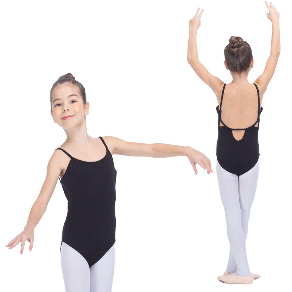 Танцора выбор черный хлопок/лайкра Балетные костюмы камзол купальники с задней отверстие Детская танцевальная одежда для девочек Боди для ...