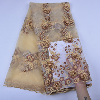 Gold Wedding Dress Lace Fabric 3D Chiffon Flowers Beads High Quality Lace Fabric Embroidery Mesh Net Lace Fabric For Wedding1233