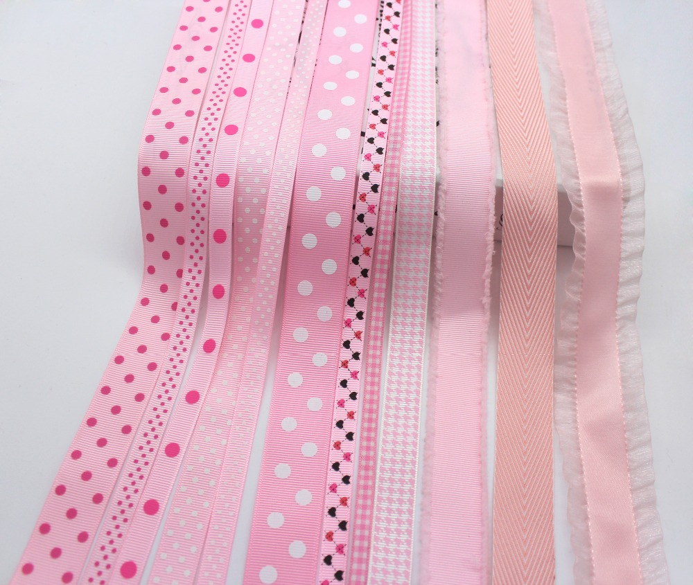 Pinks Series Tapes Grosgrain Printed Polka Dot Ribbons Gingham Checked Ribbon 100% Polyester Fabric Decor Accessoires