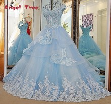 Angel Tree Custom Made V-Neck Cap Sleeve Lace Appliques Crystal Flowers Court Train A-Line Bridal Gowns Wedding Dresses