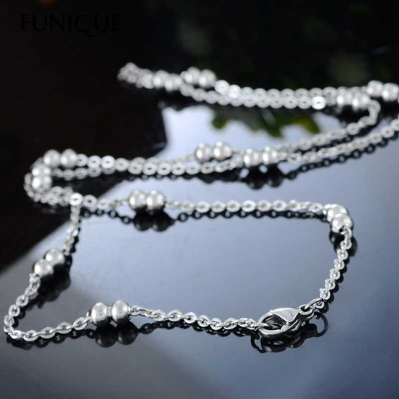FUNIQUE 1PC Stainless Steel Necklace Flat Curb Cross Chain Double Beads Balls DIY Fine Jewelry Findings For Women DIY 49.9cm 1PC