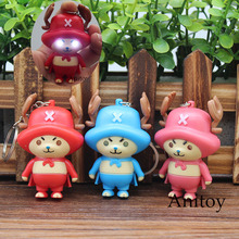 One Piece Luffy Tony Tony Chopper LED Keychain with Sound and Light PVC Key Ring Pendant Chaveiro Gift 4-7cm AK0071