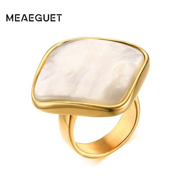 Meaeguet Elegante White Shell Naturale Anelli di Pietra Per Le Donne Oro-Colore Trendy Fedi nuziali In Acciaio Inox