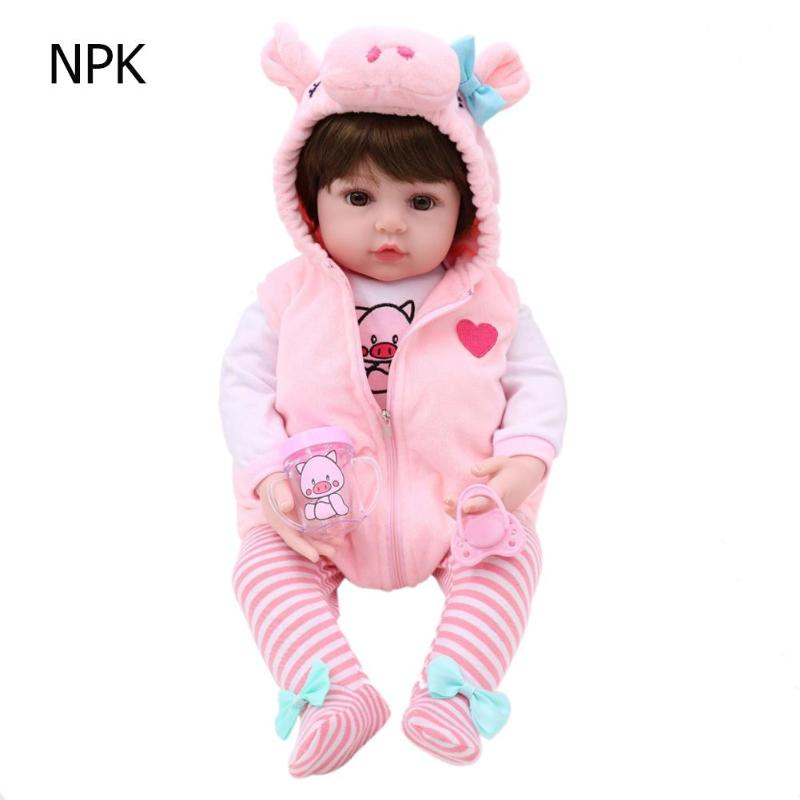 48cm Simulation Reborn Baby Doll with Hoodies Clothes Soft Vinyl Kids Realistic Baby Doll Toy Girls Playmate Boys Birthday Gifts48cm Simulation Reborn Baby Doll with Hoodies Clothes Soft Vinyl Kids Realistic Baby Doll Toy Girls Playmate Boys Birthday Gifts