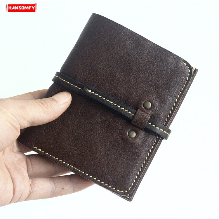 New handmade men wallet vegetable tanned leather short wallet retro simple slim small wallet multi-card walletNew handmade men wallet vegetable tanned leather short wallet retro simple slim small wallet multi-card wallet