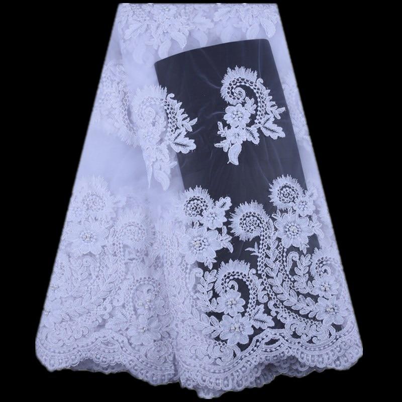 2019 francuski tiul koronka koronki tkaniny białe ślubne wysokiej jakości afryki koronki tkaniny netto 5 stoczni haftowane nigerii koronki tkaniny A1575 w Koronka od Dom i ogród na  Grupa 1