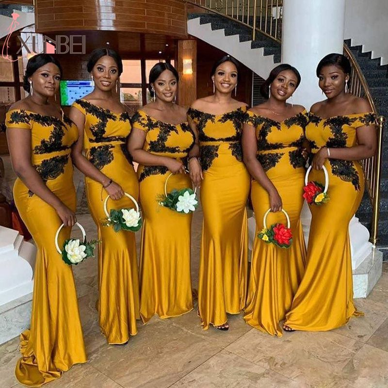 Sexy Off The Shoulder African Yellow Mermaid Lace Bridesmaid Dresses Black Appliqued Wedding Guest Dress Maid Of Honor Gown