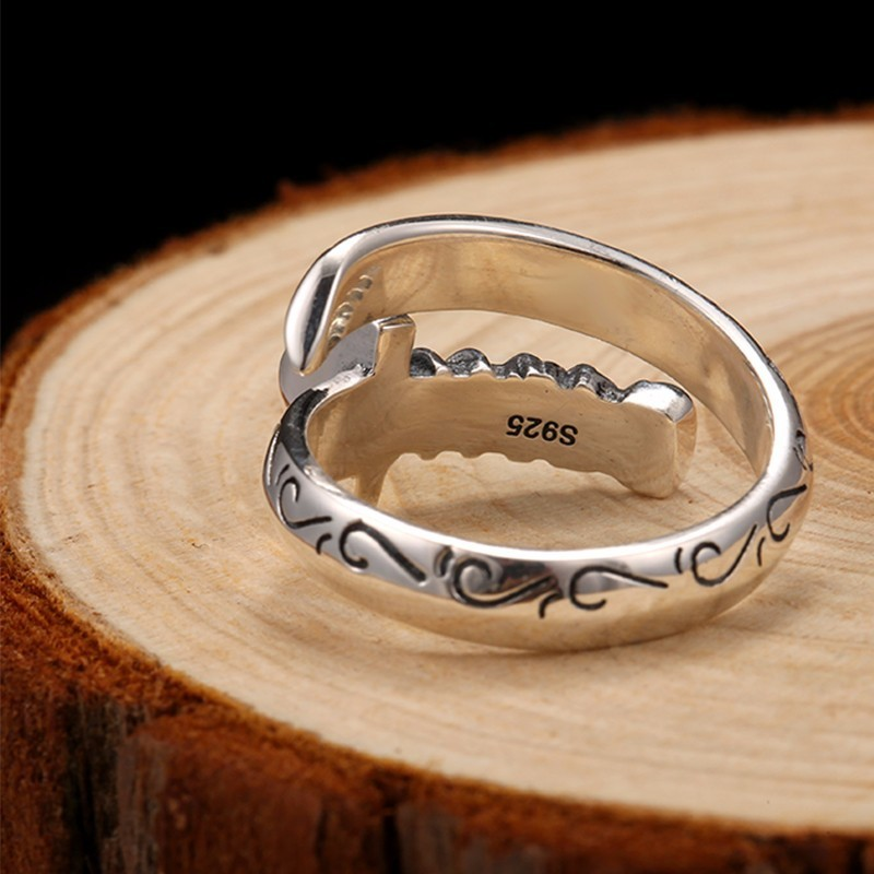 ZABRA Genuine 925 Sterling Silver Punk Rings Mens Signet Rings Knife Saber Warrior Weapons Adjustable Ring Biker Men Jewellry