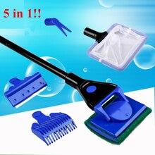 5 в 1 инструменты для очистки аквариума, набор для очистки аквариума, рыболовные сети, гравийные грабли, скребок для водорослей, вилка, губка, щетка, очиститель стекла