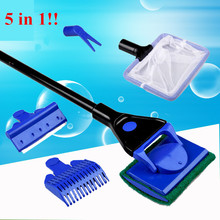 5 in 1 Aquarium Cleaning Tools Aquarium Tank Clean Set Fish Net Gravel Rake Algae Scraper Fork Sponge Brush Glass Cleaner(China)